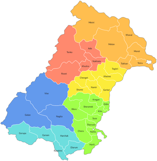 Prefectures of Lugida, colored by region