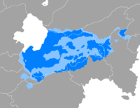A map showing the areas where Koman is mainly spoken.